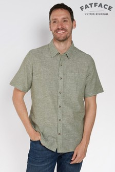 FatFace Green Bugle Linen Cotton Shirt