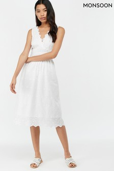 Monsoon Ladies White Axel Shiffly Sundress