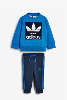 adidas Originals Infant Blue Trefoil Crew And Joggers Set
