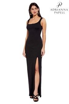 Adrianna Papell Black Lola Jersey Column Dress