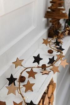 Lit Wood Star Garland