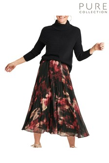 Pure Collection Pink Washed Silk Relaxed Skirt