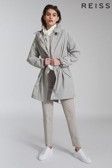 Reiss Grey Ella Lightweight Parka Jacket
