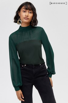 Warehouse Green High Neck Sheer Sleeve Top