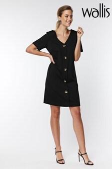 Wallis Petite Black Button Front Dress