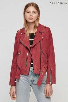 All Saints Pink Balfern Leather Suede Biker Jacket