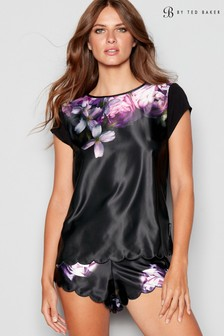 B by Ted Baker Black Sunlit Floral Short Sleeve Top