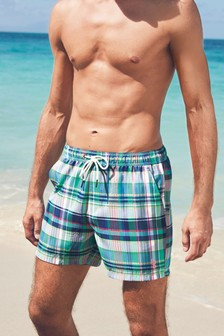 Madras Seersucker Check Swim Shorts