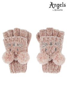 Angels by Accessorize Pink Ceri Chenille Mouse Capped Mitten