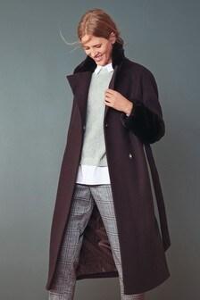 Faux Fur Cuffed Coat