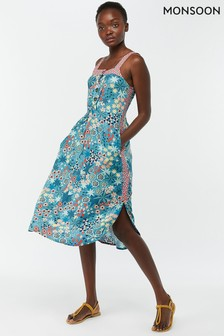 Monsoon Ladies Blue Diego Print Midi Dress