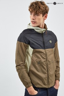Pretty Green Khaki Black Panelled Lightweight Jacket