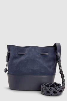 Leather Weave Strap Bucket Bag