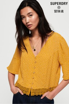 Superdry Yellow Lace Top