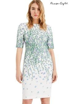 שמלה עם רקמת פרחים דגם Julie בצבע שמנת של Phase Eight
