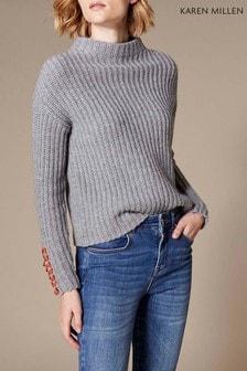 Karen Millen Grey Lace-Up Chain Detail Knit Jumper
