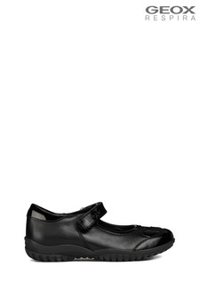 Geox Shadow Black Leather Ballerina