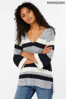 Monsoon Grey Tamzin Tape Yarn Stripe Jumper
