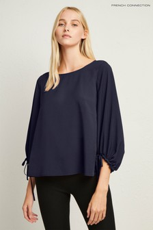 French Connection Dark Blue Puff Sleeve Blouse