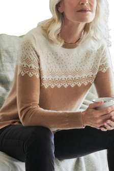 Pure Collection Natural Cashmere Fairisle Sweater