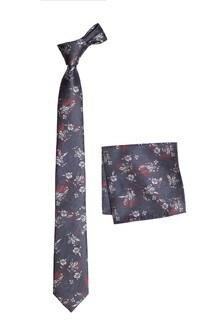 Жаккардовый галстук с цветочным рисунком и нагрудный платок (комплект)