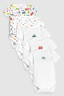 Transport Print Short Sleeve Bodysuits Five Pack (0mths-2yrs)