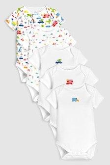 Transport Print Short Sleeve Bodysuits Five Pack (0m-cy-2lata)