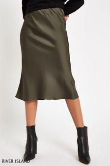 River Island Khaki Bias Cut Skirt