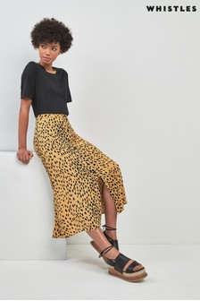 Whistles Animal Print Midi Skirt