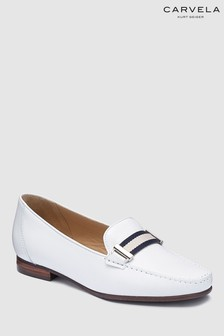 Carvela Comfort White Leather Charlie Loafer