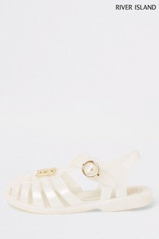 River Island Cream Logo Caged Jelly Sandal