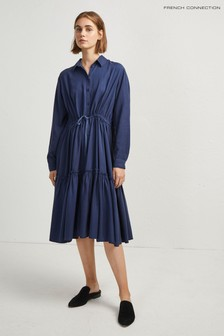 French Connection Blue Floretta Drape Tiered Shirt Dress