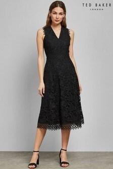 Ted Baker Black Lace Midi Dress