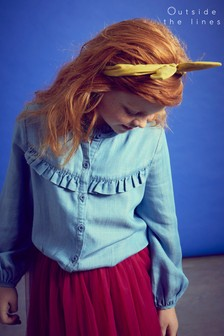 Outside The Line Blue Chambray Frill Blouse