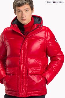 Tommy Hilfiger Red Shiny Hooded Down Bomber Jacket