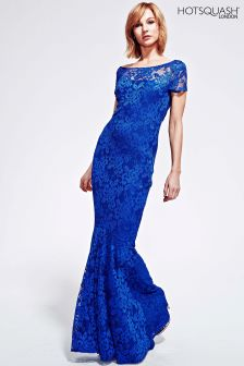 HotSquash Royal Blue Long Lace Maxi Dress