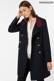 Monsoon Ladies Navy Mya Military Coat
