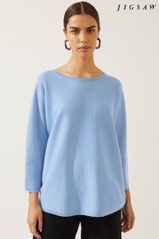 Jigsaw Blue Double Faced Scooped Jumper