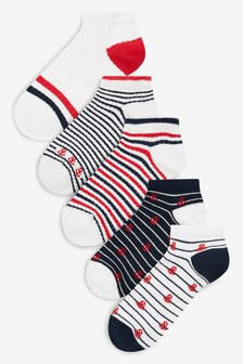 Nautical Pattern Ankle Socks Five Pack