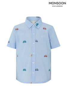 Monsoon Blue Bradley Embroidered Bike Shirt