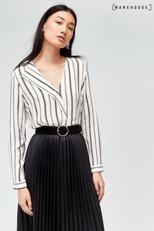 Warehouse Natural Stripe Neck Fold Top