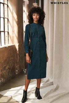 Whistles Teal Romaine Cord Dress