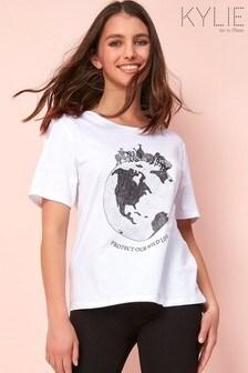 Kylie White Slogan Print Wildlife T-Shirt
