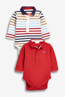 And Stripe Polo Neck Bodysuits Two Pack (0mths-2yrs)