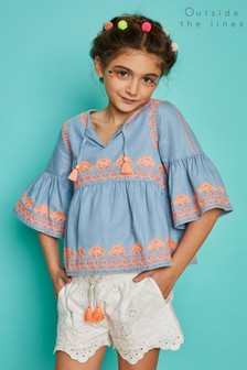 Outside The Lines Blue Embroidered Blouse