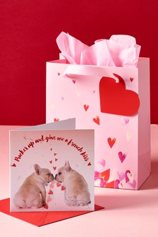 Valentines Frenchie Card And Bag Bundle