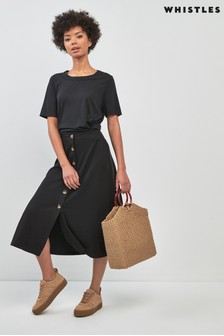 Whistles Black Rib Jersy Ruffle Skirt