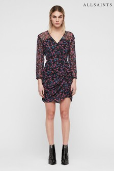 All Saints Black Floral Print Harlow Dress