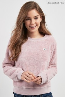 Abercrombie & Fitch Pink Sherpa Crew Top