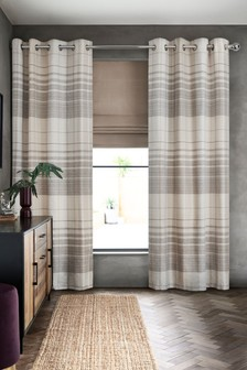 Natural Ashford Woven Check Eyelet Curtains